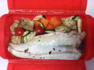 Lubina con zanahoria bernejena calabacin